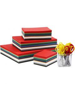 Cartoncino Natale e forbici, A3,A4,A5,A6, 180 g, colori asst., 1 set