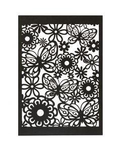 Cartoncino con motivo a pizzo, 10,5x15 cm, 200 g, nero, 10 pz/ 1 conf.
