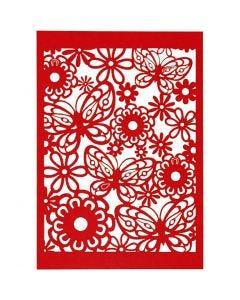 Cartoncino con motivo a pizzo, 10,5x15 cm, 200 g, rosso, 10 pz/ 1 conf.