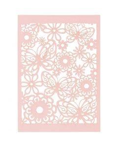 Cartoncino con motivo a pizzo, 10,5x15 cm, 200 g, rosso chiaro, 10 pz/ 1 conf.