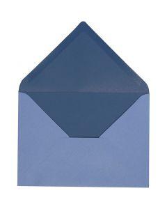 Busta, dim. busta 11,5x16 cm, 100 g, azzurro/blu scuro, 10 pz/ 1 conf.