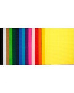 Cartoncino corrugato, 50x70 cm, 80 g, 15 fgl. asst./ 1 conf.