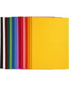 Cartoncino corrugato, 25x35 cm, 80 g, 15 fgl. asst./ 1 conf.