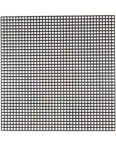 Plastica per punto croce, misura 14x14 cm, misura buco 3x3 mm, nero, 5 fgl./ 1 conf.