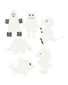 Cartoncino da ricamare, animali/robots, H: 8-13 cm, bianco, 6x3 pz/ 1 conf.