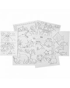 Cartoncino punto croce con disegno, 3x3 buchi per cm , 8x5 fgl./ 1 conf.