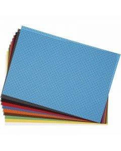 Cartoncino punto croce, misura 23x33 cm, 3x3 buchi per cm , colori asst., 10 fgl. asst./ 1 conf.