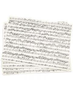 Carta kraft stampata, note musicali, A4, 210x297 mm, 100 g, 10 fgl./ 1 conf.