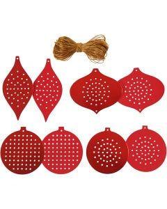Carta per punto croce, Decorazione di Natale, H: 8,5-12 cm, misura buco 3 mm, 280 g, rosso metallico, 32 pz/ 1 conf.