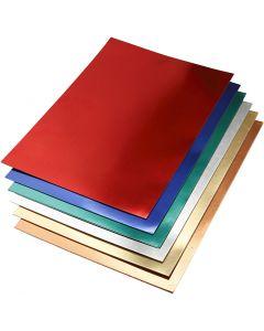 Cartoncino metallizzato, A2, 420x600 mm, 280 g, colori asst., 30 fgl. asst./ 1 conf.