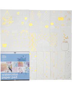 Blocco di carta acquarello con stampa fantasia, misura 30,5x30,5 cm, bianco, 12 fgl./ 1 pz