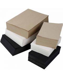 Carta kraft, A3,A4, 100 g, nero, grigio, grigio-marrone, bianco, 6000 fgl. asst./ 1 conf.
