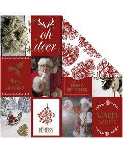 Carta fantasia, motivi natalizi e pigne, 180 g, oro, rosso, 3 fgl./ 1 conf.