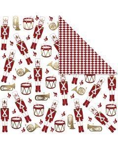 Carta fantasia, schiaccianoci, 180 g, oro, rosso, bianco, 3 fgl./ 1 conf.