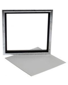 Cornice pannello telato, P 1,5 cm, misura 25x25 cm, bianco, 1 pz