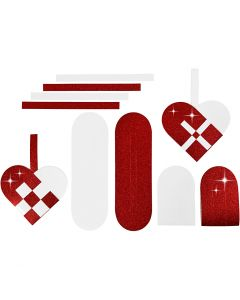 Cuori intrecciati, misura 14,5x10 cm, 120+128 g, rosso, bianco, 8 set/ 1 conf.