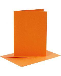 Biglietti e buste, dim. cartoncino 10,5x15 cm, dim. busta 11,5x16,5 cm, 110+220 g, arancio, 6 set/ 1 conf.