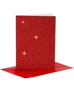 Biglietti e buste, dim. cartoncino 10,5x15 cm, dim. busta 11,5x16,5 cm, glitter, rosso, 4 set/ 1 conf.