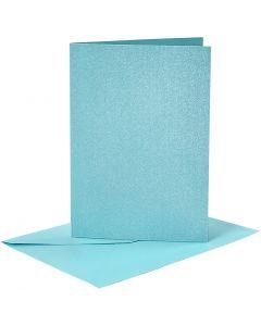 Biglietti e buste, dim. cartoncino 10,5x15 cm, dim. busta 11,5x16,5 cm, madreperla, blu, 4 set/ 1 conf.