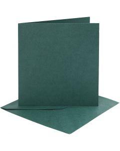 Biglietti e buste, dim. cartoncino 15,2x15,2 cm, dim. busta 16x16 cm, 230 g, verde scuro, 4 set/ 1 conf.