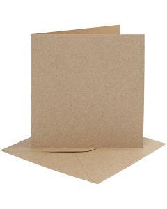 Biglietti e buste, dim. cartoncino 15,2x15,2 cm, dim. busta 16x16 cm, 230 g, natural, 4 set/ 1 conf.
