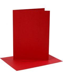 Biglietti e buste, dim. cartoncino 12,7x17,8 cm, dim. busta 13,3x18,5 cm, 230 g, rosso, 4 set/ 1 conf.