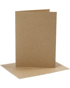 Biglietti e buste, dim. cartoncino 12,7x17,8 cm, dim. busta 13,3x18,5 cm, 230 g, natural, 4 set/ 1 conf.