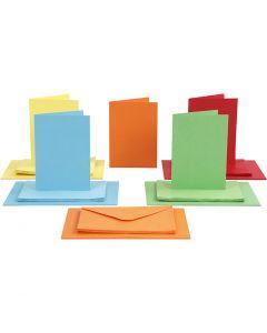 Biglietti e buste, dim. cartoncino 10,5x15 cm, dim. busta 11,5x16,5 cm, colori asst., 50 set/ 1 conf.