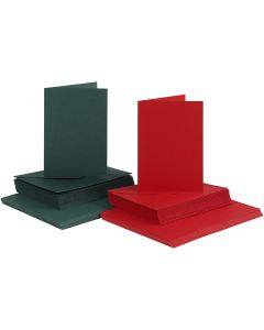 Biglietti e buste, dim. cartoncino 10,5x15 cm, dim. busta 11,5x16,5 cm, verde, rosso, 50 set/ 1 conf.