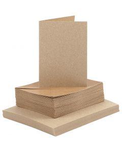 Biglietti e buste , dim. cartoncino 10,5x15 cm, dim. busta 11,5x16,5 cm, natural, 50 set/ 1 conf.