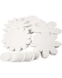 Fiori, diam: 20 cm, 400 g, bianco, 5x20 pz/ 1 conf.