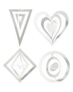 Decorazioni 3D, H: 18+22+24 cm, L: 15+18+22 cm, 230 g, bianco, 16 pz/ 1 conf.