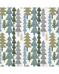Tovaglioli da tavolo, alberi di Natale moderni, misura 33x33 cm, 20 pz/ 1 conf.