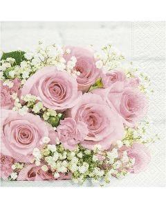 Tovaglioli da tavolo, Bouquet nuziale, misura 33x33 cm, 20 pz/ 1 conf.