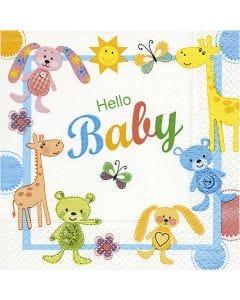 Tovaglioli da tavolo, Hello Baby, misura 33x33 cm, 20 pz/ 1 conf.