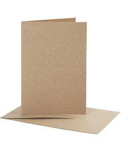 Biglietti e buste, dim. cartoncino 10,5x15 cm, dim. busta 11,5x16,5 cm, natural, 10 set/ 1 conf.