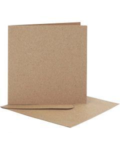 Biglietti e buste, dim. cartoncino 12,5x12,5 cm, dim. busta 13,5x13,5 cm, 10 set/ 1 conf.