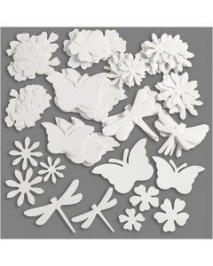 Ritagli fustellati estivi, misura 4,5-12 cm, 240 g, bianco, 362 pz/ 1 conf.