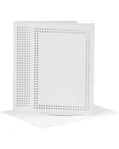 Cartoncino da ricamo, dim. cartoncino 10,5x15 cm, dim. busta 11,5x16,5 cm, bianco, 6 pz/ 1 conf.