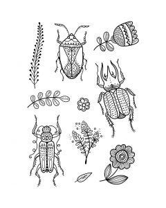 Timbri trasparenti, insetti, 11x15,5 cm, 1 fgl.