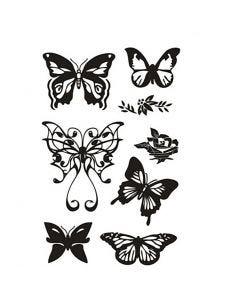Timbri trasparenti, farfalle, 11x15,5 cm, 1 fgl.