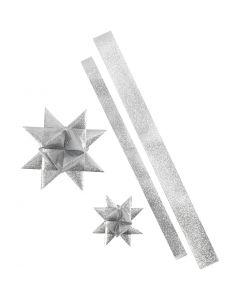 Strisce per stelle, L: 86+100 cm, diam: 11,5+18,5 cm, L: 25+40 mm, argento glitter, 16 strisce/ 1 conf.