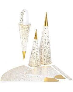 Coni, H: 18+28 cm, 120 g, oro, bianco, 3 pz/ 1 conf.