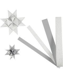 Strisce di carta per stelle , L: 44+78 cm, diam: 6,5+11,5 cm, L: 15+25 mm, glitter,vernice, argento, 40 strisce/ 1 conf.