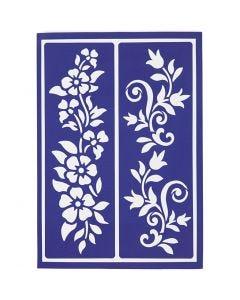 Stencil flessibile, fiori estivi, 21x14,8 cm, 1 pz