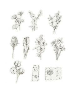 Adesivi nastro adesivo, fiori bianco/neri, misura 30-50 mm, 30 pz/ 1 conf.