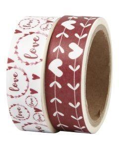 Washi Tape, love e cuori, L: 15 mm, 2x5 m/ 1 conf.