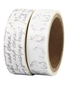 Washi Tape, coniglietti, L: 15 mm, 2x5 m/ 1 conf.