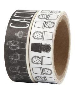 Washi Tape, cactus, L: 15 mm, 2x5 m/ 1 conf.