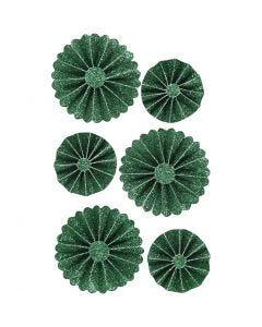 Coccarde in carta, diam: 35+50 mm, verde glitter, 6 pz/ 1 conf.
